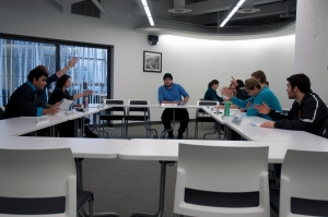 A TRUSU council meeting votes on a motion at the Jan. 15 meeting. - Photo by Devan C. Tasa