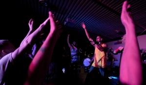 DJ Tarun Nayar (left) and singer Sanjay Seran (right) pump up the crowd. - Photo by Travis Persaud
