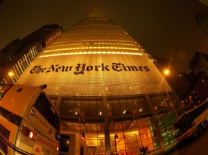 New York Times building at night. - Photo by alextorrenegra distributed under a Creative Commons Attribution license