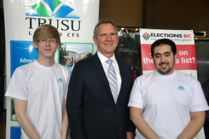 Dylan Robinson, TRUSU's vice-president external, Keith Archer, Elections B.C.'s chief electoral office and Trad Bahabri, TRUSU's vice-president internal were registering voters in the CAC on March 13. PHOTO BY DEVAN C. TASA