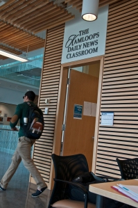 A student exits the new Kamloops Daily News Classroom in the HOL. PHOTO BY KARLA KARCIOGLU