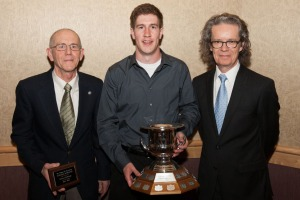 Coach Jack Miller, Doctor Roger H. Barnsley Scholar athlete of the year Justin Smeaton and presenter TRU president Alan Shaver. - PHOTO BY ANDREW SNUCINS