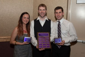 Cliff Neufeld Leadership athlete of the year award winner Abbey McAuley, athletics and recreation assistant facility coordinator Jon Shephard and award winner Spencer Reed. - PHOTO BY ANDREW SNUCINS
