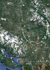 The location of B.C. 11 public universities. - IMAGE BY GOOGLE MAPS